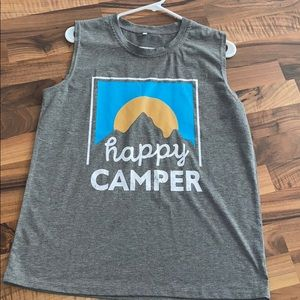 Large sleeveless grey tee- happy camper